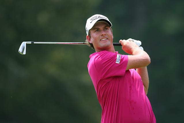WHITE SULPHUR SPRINGS, WV - JULY 8: Webb Simpson hits his tee shot on the third hole during the final round of the Greenbrier Classic at the Old White TPC on July 8, 2012 in White Sulphur Springs, West Virginia. (Photo by Hunter Martin/Getty Images)