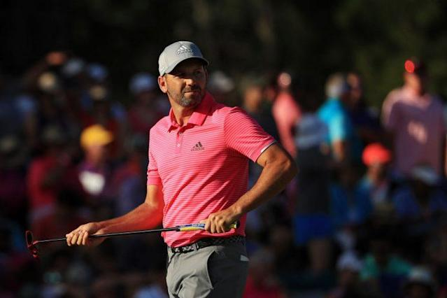Sergio Garcia of Spain reacts on the 17th green during the final round of The Players. (Getty Images)