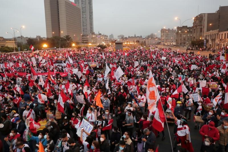 FILE PHOTO: Supporters of Peru's presidential candidate Keiko Fujimori gather during a demonstration in Lima