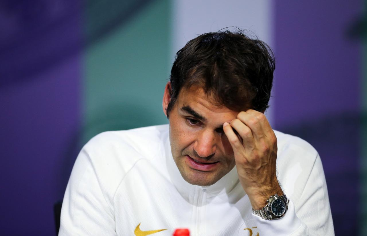 <p>Roger Federer of Switzerland gives a press conference after being beaten in his men's semifinal singles match against Milos Raonic of Canada, on day twelve of the Wimbledon Tennis Championships in London, Friday, July 8, 2016. (AP)</p>