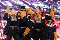 """<p>Team USA has sported <a href=""""https://www.nbcboston.com/news/sports/tokyo-summer-olympics/a-photo-history-of-olympic-uniforms/2402511/"""" class=""""link rapid-noclick-resp"""" rel=""""nofollow noopener"""" target=""""_blank"""" data-ylk=""""slk:Ralph Lauren designs to the games since 2008"""">Ralph Lauren designs to the games since 2008</a>, but the most recent uniforms (at the 2018 winter games) were some of the most patriotic yet. The look included suede fringed gloves, knit sweaters, and parkas equipped with advanced <a href=""""https://www.thecut.com/2018/01/2018-team-usa-olympic-uniforms-ralph-lauren.html"""" class=""""link rapid-noclick-resp"""" rel=""""nofollow noopener"""" target=""""_blank"""" data-ylk=""""slk:heat technology"""">heat technology</a>. </p>"""