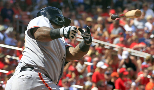 San Francisco Giants' Pablo Sandoval loses his bat while swinging during the sixth inning of a baseball game against the St. Louis Cardinals, Sunday, June 1, 2014, in St. Louis. (AP Photo/Jeff Roberson)