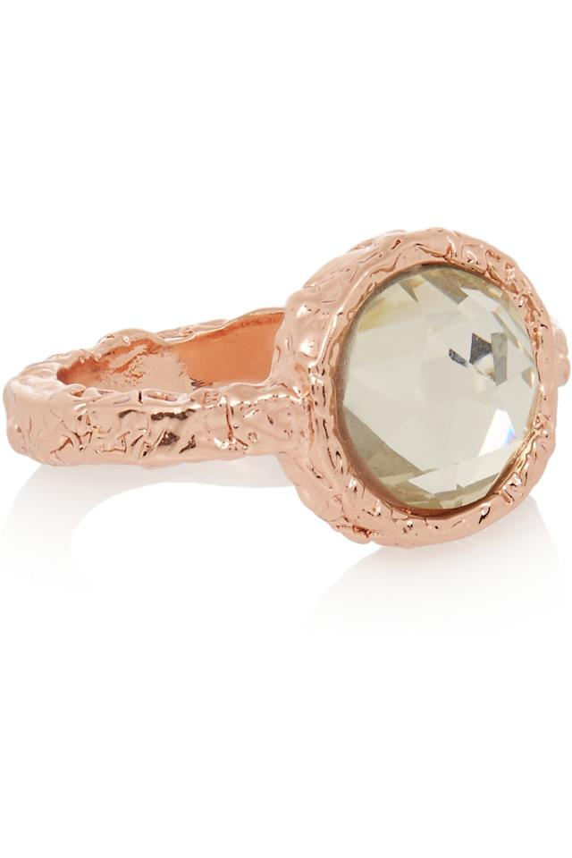 "<p>Not only is this gorgeous Marc Jacobs ring rose gold, the metal of preference among the fashion crowd this season, but it is currently on sale.</p><p><a href=""https://www.theoutnet.com/en-GB/product/Marc-by-Marc-Jacobs/Rose-gold-tone-crystal-ring/667387"">£27 from The Outnet</a><br /></p><p><br /></p>"