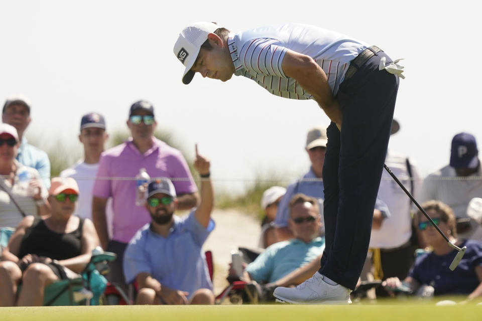 Louis Oosthuizen, of South Africa, misses a birdie putt on the eighth hole during the second round of the PGA Championship golf tournament on the Ocean Course Friday, May 21, 2021, in Kiawah Island, S.C. (AP Photo/Matt York)