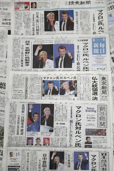Japanese newspapers also featured the French poll news prominently
