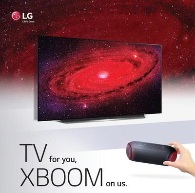 LG Electronics USA announced a limited-time promotion offering consumers a free LG XBOOM Go speaker (model PL5) with the purchase of eligible 2020 LG OLED and LG NanoCell TVs. (PRNewsfoto/LG Electronics USA)