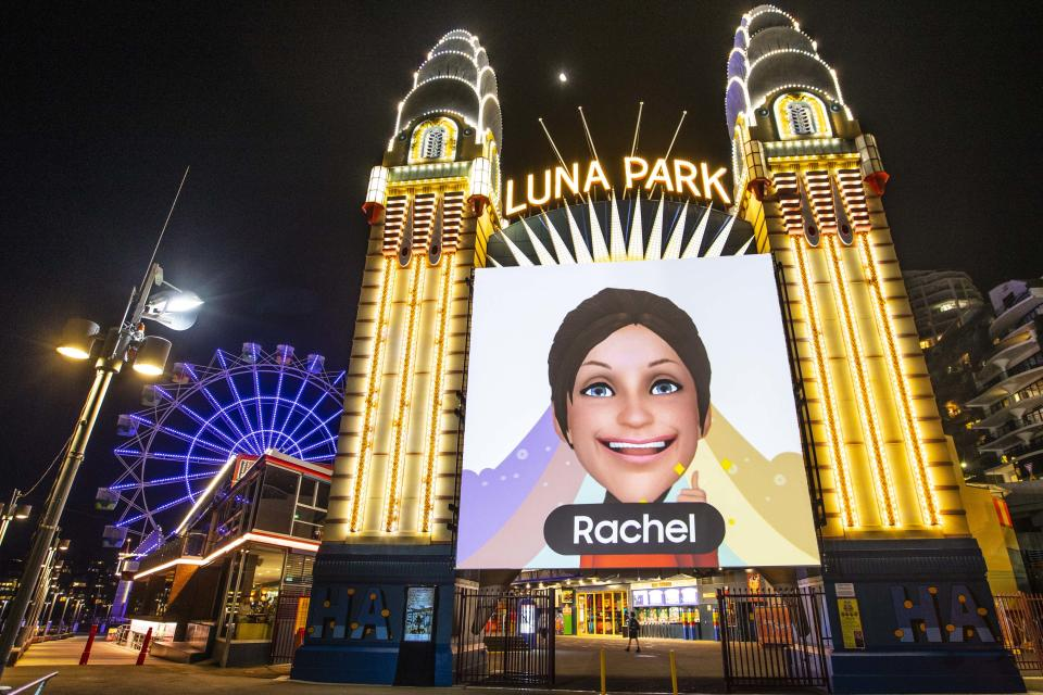 """""""The night. reimagined"""" takes visitors on a visual journey of elements of the night and you may even be lucky enough to have your face projected onto Luna Park. Source: Vivid"""