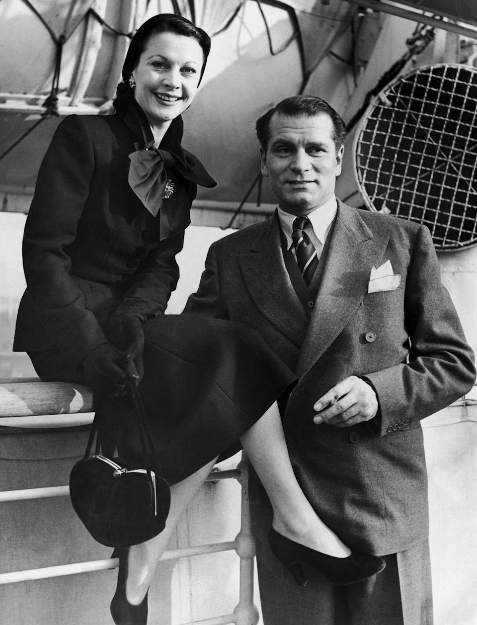 <p>Vivien Leigh dresses to impress aboard the RMS Mauretania with her husband, Laurence Olivier. The Hollywood couple sailed on the ocean liner from London to New York in 1951. </p>