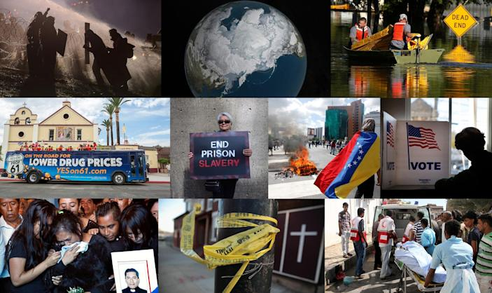 Top, from left: Dakota Access pipeline (Stephanie Keith/Reuters), Arctic ice (NASA/AP), North Carolina flooding (Carlo Allegri/Reuters). Middle, from left: Drug prices (Gilles Mingasson/AP), Prison protest (Alex Milan Tracy/Sipa USA), Venezuela unrest (Carlos Garcia Rawlins/Reuters), Voting (Elise Amendola/AP). Bottom, from left: Mexico killings (Marco Ugarte/AP), Chicago shootings (Scott Olson/Getty Images), Yemen conflict (Saleh Al-Obeidi/AFP/Getty Images).