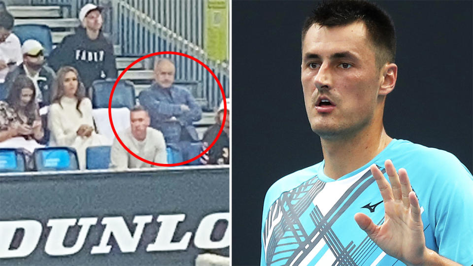 Bernard Tomic's father John, pictured here in his courtside box at the Australian Open.