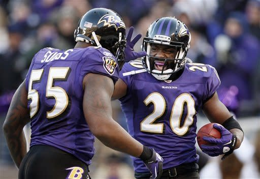Baltimore Ravens free safety Ed Reed, right, celebrates his interception with teammate outside linebacker Terrell Suggs, left, during the second half of an NFL divisional playoff football game against the Houston Texans in Baltimore, Sunday, Jan. 15, 2012. The Ravens won the game 20-13. (AP Photo/Patrick Semansky)