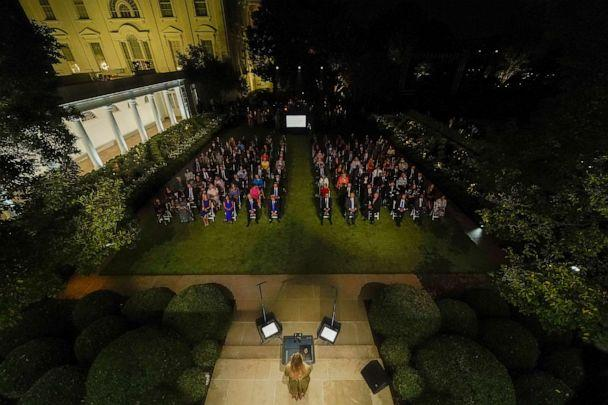 PHOTO: First lady Melania Trump speaks on the second night of the Republican National Convention from the Rose Garden of the White House, Aug. 25, 2020, in Washington. (Evan Vucci/AP)