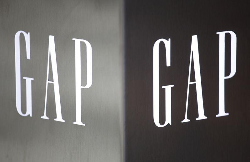 File photo of Gap logo outside a Hong Kong's first Gap Store before its opening in the financial Central district