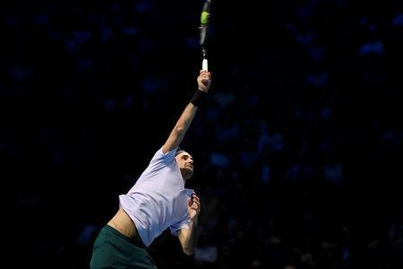 Tennis - ATP World Tour Finals - The O2 Arena, London, Britain - November 14, 2017 Switzerland's Roger Federer in action during his group stage match against Germany's Alexander Zverev Action Images via Reuters/Tony O'Brien