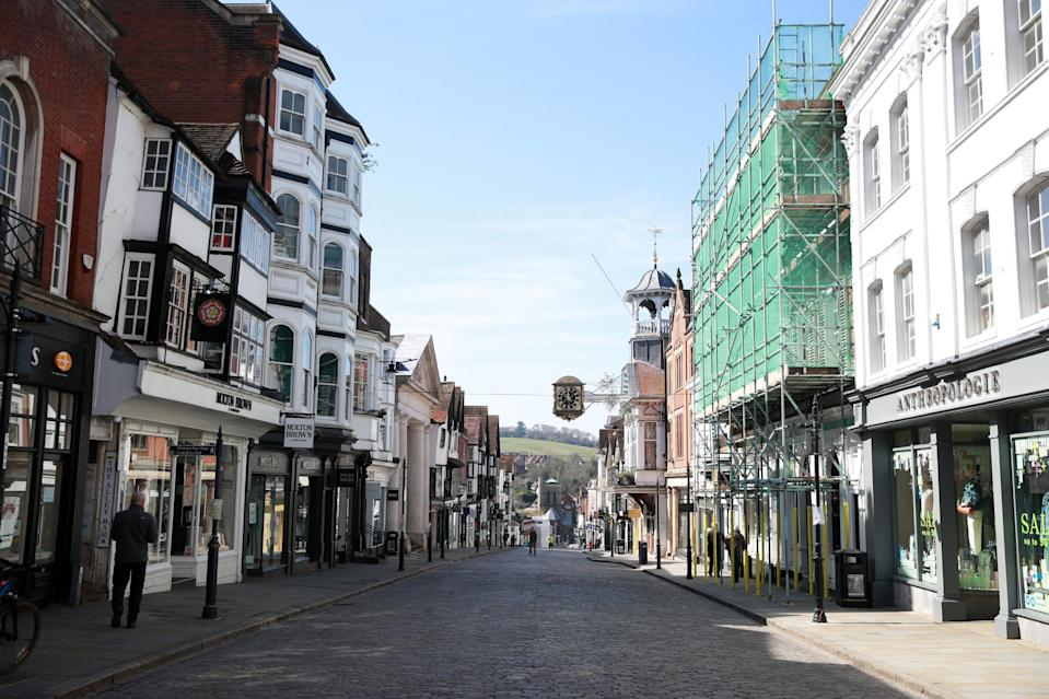 An empty high-street in Guildford the day after Prime Minister Boris Johnson put the UK in lockdown to help curb the spread of the coronavirus. (PA)
