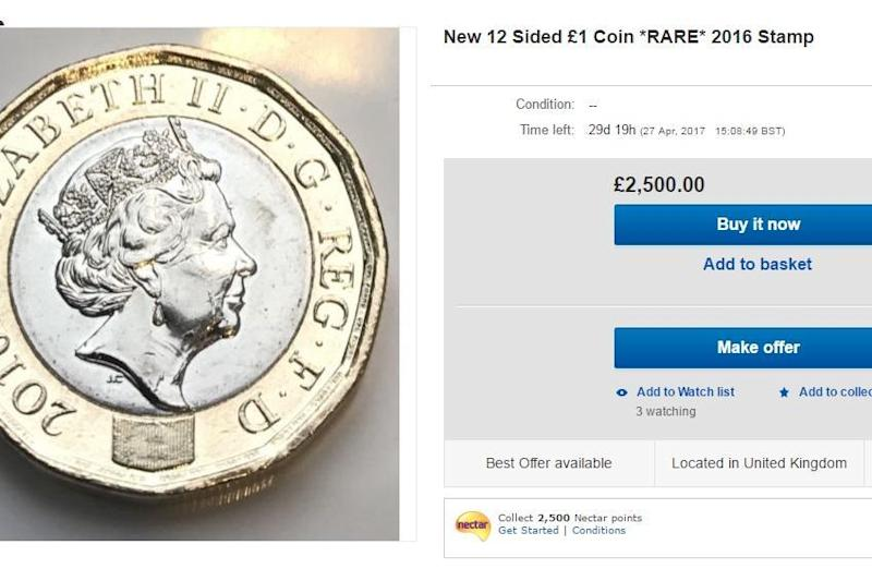 Rare: One seller is offering a £1 coin for £2,500: eBay