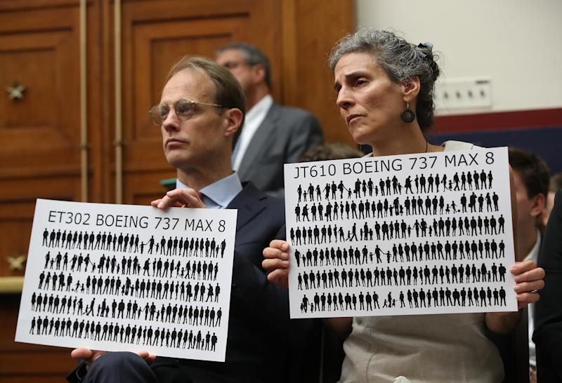 WASHINGTON, DC - JUNE 19: Michael Stumo and his wife Nadia Milleron, parents of Samya Rose Stumo, who was killed when Ethiopian Airlines FlightET302 crashed, listen to testimony during a House Transportation and Infrastructure Committee hearing on Capitol Hill June 19, 2019 in Washington, DC. The committee heard testimony from officials in the airline industry regarding the status of the grounded Boeing 737 MAX. (Photo by Mark Wilson/Getty Images)