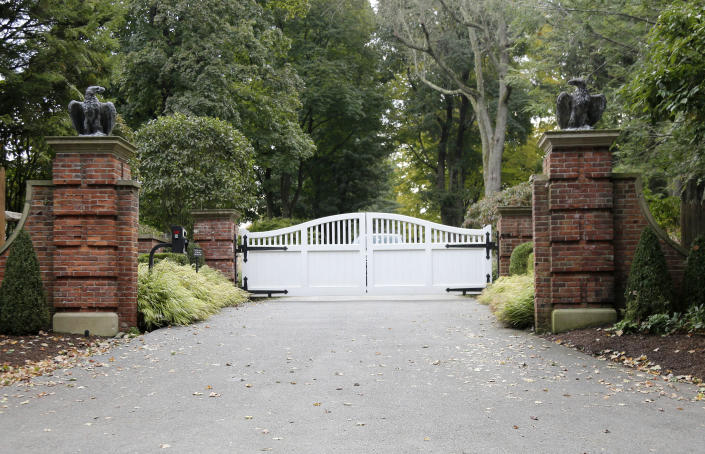 FILE - This Tuesday, Oct. 23, 2018 file photo shows the entrance to a house owned by George Soros in Katonah, N.Y. An object that appeared to be an explosive device was found in a mailbox at the compound belonging to the billionaire philanthropist who is a frequent target of right-wing conspiracy theories. (AP Photo/Seth Wenig)