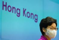 Hong Kong Chief Executive Carrie Lam speaks during news conference over planned changes to the electoral system, in Hong Kong