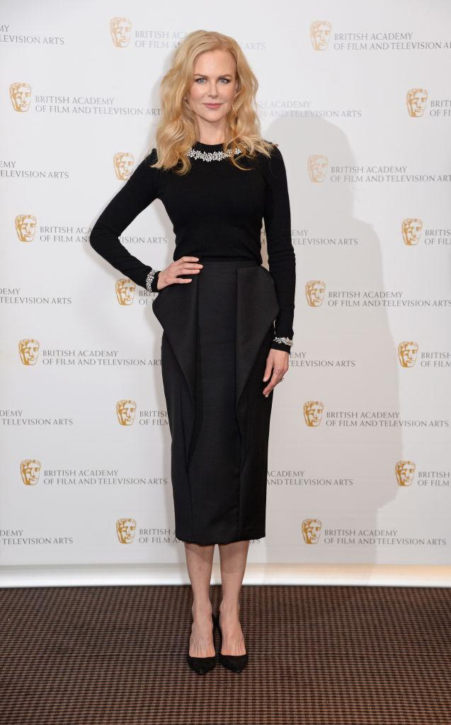 <p>On November 21, Nicole Kidman graced the red carpet in a super chic ensemble by Michael Kors. Keeping it minimal, the actress finished the look with co-ordinating block heels. <em>[Photo: Getty]</em> </p>