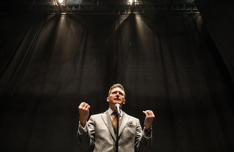 Richard Spencer addresses the media on Oct. 19, 2017, at the University of Florida, which initially resisted hosting him as a speaker.