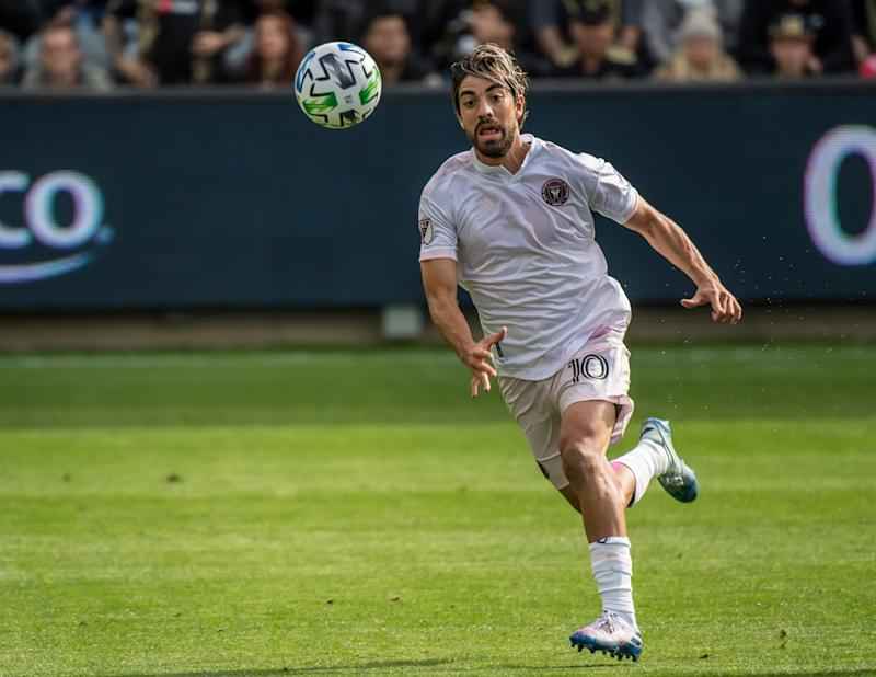 LOS ANGELES, CA - MARCH 1: Rodolfo Pizarro #10 of Inter Miami in action during the MLS match against Los Angeles FC at the Banc of California Stadium on March 1, 2020 in Los Angeles, California. Los Angeles FC won the match 1-0. (Photo by Shaun Clark/Getty Images)