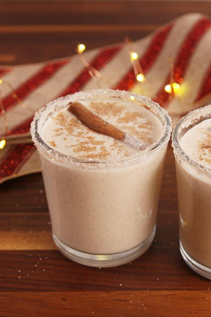 """<p>Learn to make your own egg nog and then instantly make it boozy.</p><p>Get the recipe from <a href=""""https://www.delish.com/cooking/recipe-ideas/recipes/a57053/rumchata-egg-nog-recipe/"""" rel=""""nofollow noopener"""" target=""""_blank"""" data-ylk=""""slk:Delish"""" class=""""link rapid-noclick-resp"""">Delish</a>. </p>"""
