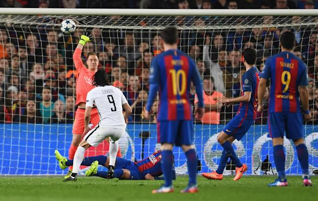 <p>Edinson Cavani of Edinson Cavani of PSG (9) scores their first goal past goalkeeper Marc-Andre ter Stegen of Barcelona during the UEFA Champions League Round of 16 second leg match between FC Barcelona and Paris Saint-Germain at Camp Nou on March 8, 2017 in Barcelona, Spain. (Photo by Laurence Griffiths/Getty Images) </p>