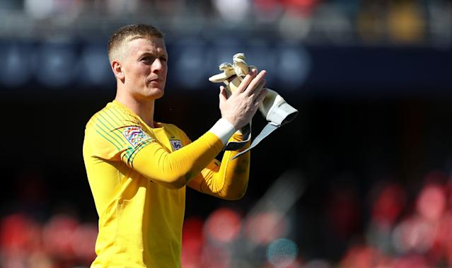 England goalkeeper Jordan Pickford applauds fans after the final whistle during the Nations League Third Place Play-Off at Estadio D. Alfonso Henriques, Guimaraes. (Photo by Tim Goode/PA Images via Getty Images)