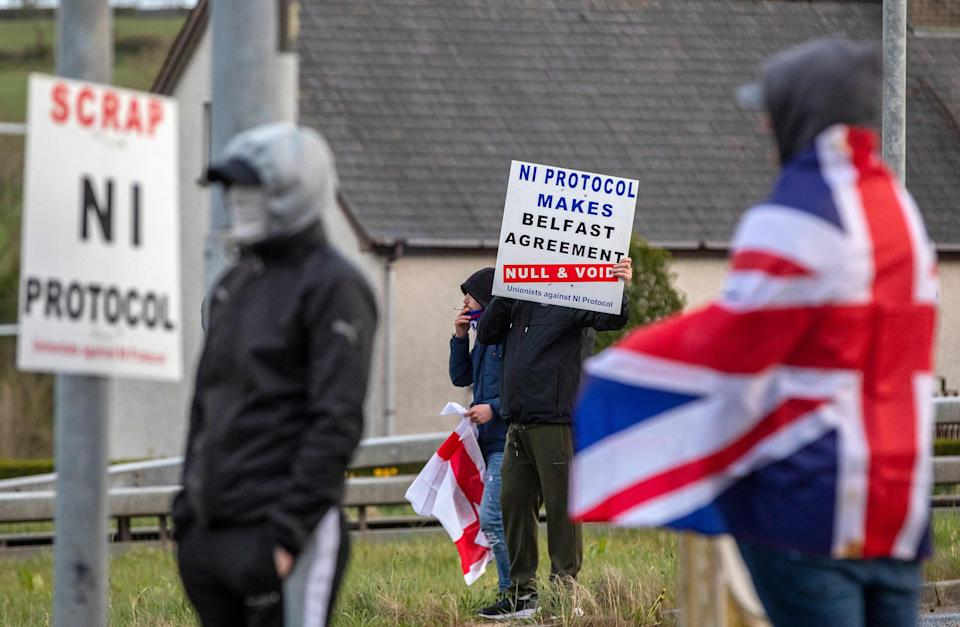 <p>Pro-Union loyalists demonstrate against the Northern Ireland Protocol</p> (AFP via Getty Images)