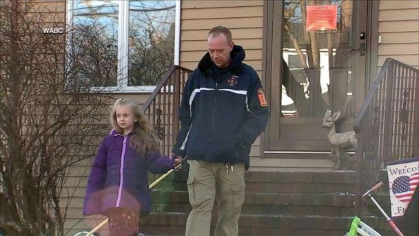 PHOTO: Madalyn Karlbon and her father speak with WABC about the recent fire at their home. (WABC)