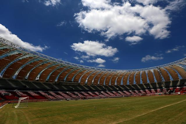 PORTO ALEGRE, BRAZIL - DECEMBER 12: Construction continues at the Estadio Beira-Rio on December 12, 2013 in Porto Alegre, Brazil. The stadium will host matches during the 2014 FIFA World Cup Brazil. (Photo by Michael Heiman/Getty Images)