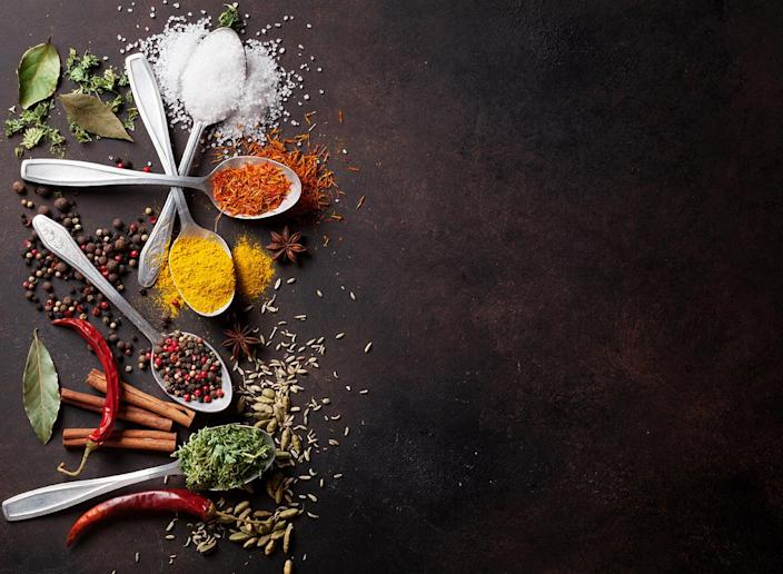 spices on metal spoons
