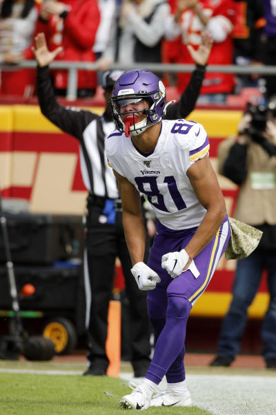 Minnesota Vikings wide receiver Bisi Johnson (81) celebrates his touchdown during the first half of an NFL football game against the Kansas City Chiefs in Kansas City, Mo., Sunday, Nov. 3, 2019. (AP Photo/Colin E. Braley)