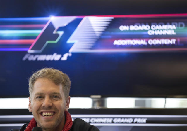 Red Bull Racing driver Sebastian Vettel of Germany speaks during a press conference ahead of Sunday's Chinese Formula One Grand Prix at Shanghai International Circuit in Shanghai, China Thursday, April 17, 2014.(AP Photo/Andy Wong)