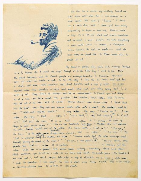 This undated photo provided by Sotheby's shows a letter William Faulkner wrote to his mother from Paris in 1925 with a drawing of himself with a beard, and describing the difficulty of ordering a meal in a restaurant. Manuscripts and personal letters of the late author, whose original writings are a rarity in the literary marketplace, can be viewed Wednesday, April 10, 2013, at Sotheby's in New York - an event to whet the appetites of scholars ahead of a June 11 auction. (AP Photo/Sotheby's)