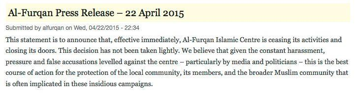 The controversial Al-Furqan centre announced on its website that is is closing immediately.