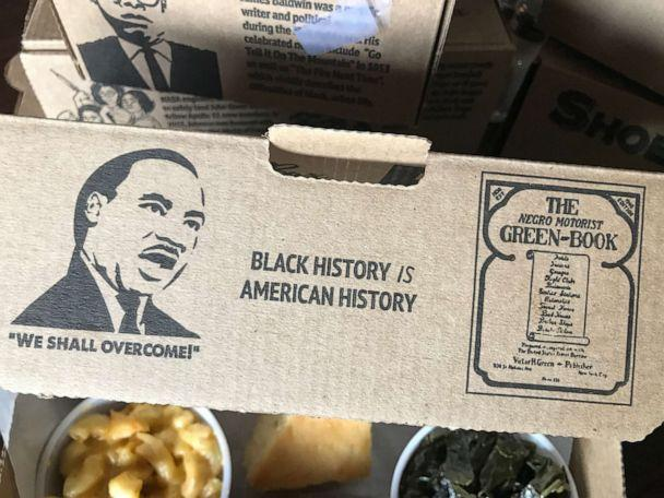 PHOTO: Beans & Cornbread restaurant in Detroit serves 'shoebox lunches' with black history facts about figures from The Negro Motorist Green Book and Freedom Riders. (Courtesy Neil Master/Master Advertising)