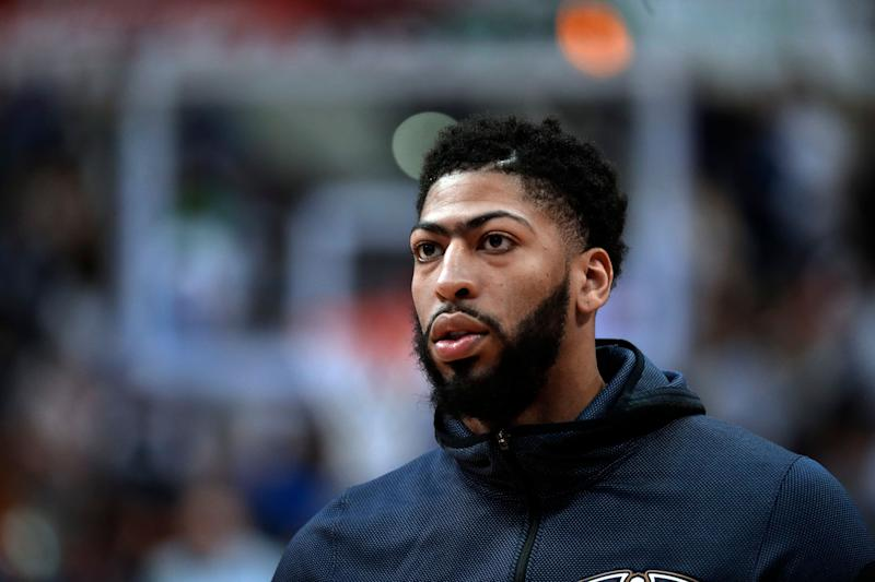New Orleans Pelicans forward Anthony Davis participates in warm ups before an NBA basketball game against the Dallas Mavericks in Dallas Monday