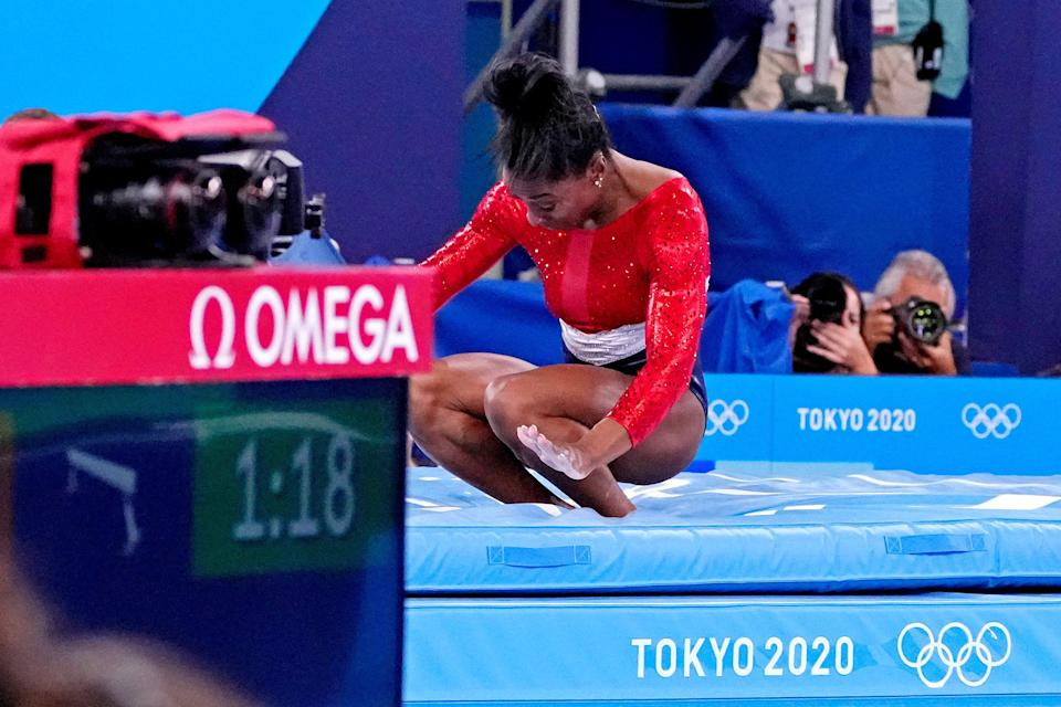 Simone Biles (USA) competes on the vault during the Tokyo 2020 Olympic Summer Games at Ariake Gymnastics Centre.