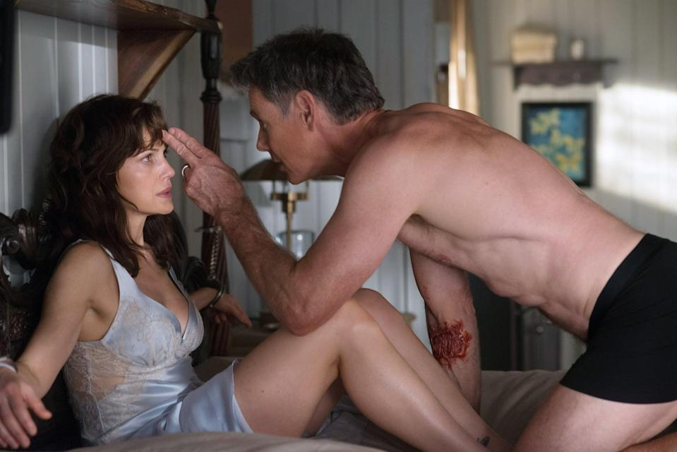 "<p>If you think you can tell the plot of <strong>Gerald's Game</strong> by this picture, you can't. Adapted from a Stephen King novel, this movie starts sexy, then turns . . . not sexy.</p> <p><a href=""https://www.netflix.com/watch/80128722"" class=""link rapid-noclick-resp"" rel=""nofollow noopener"" target=""_blank"" data-ylk=""slk:Watch Gerald's Game on Netflix"">Watch <strong>Gerald's Game</strong> on Netflix</a>.</p>"