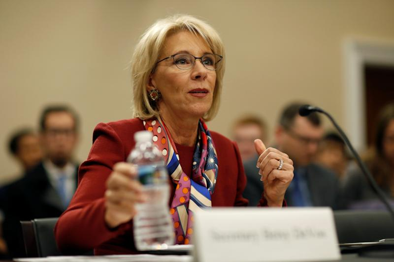 Education Secretary Betsy DeVos struggled to defend her department's new student loan guidance during a March 20 budget hearing. (Joshua Roberts / Reuters)