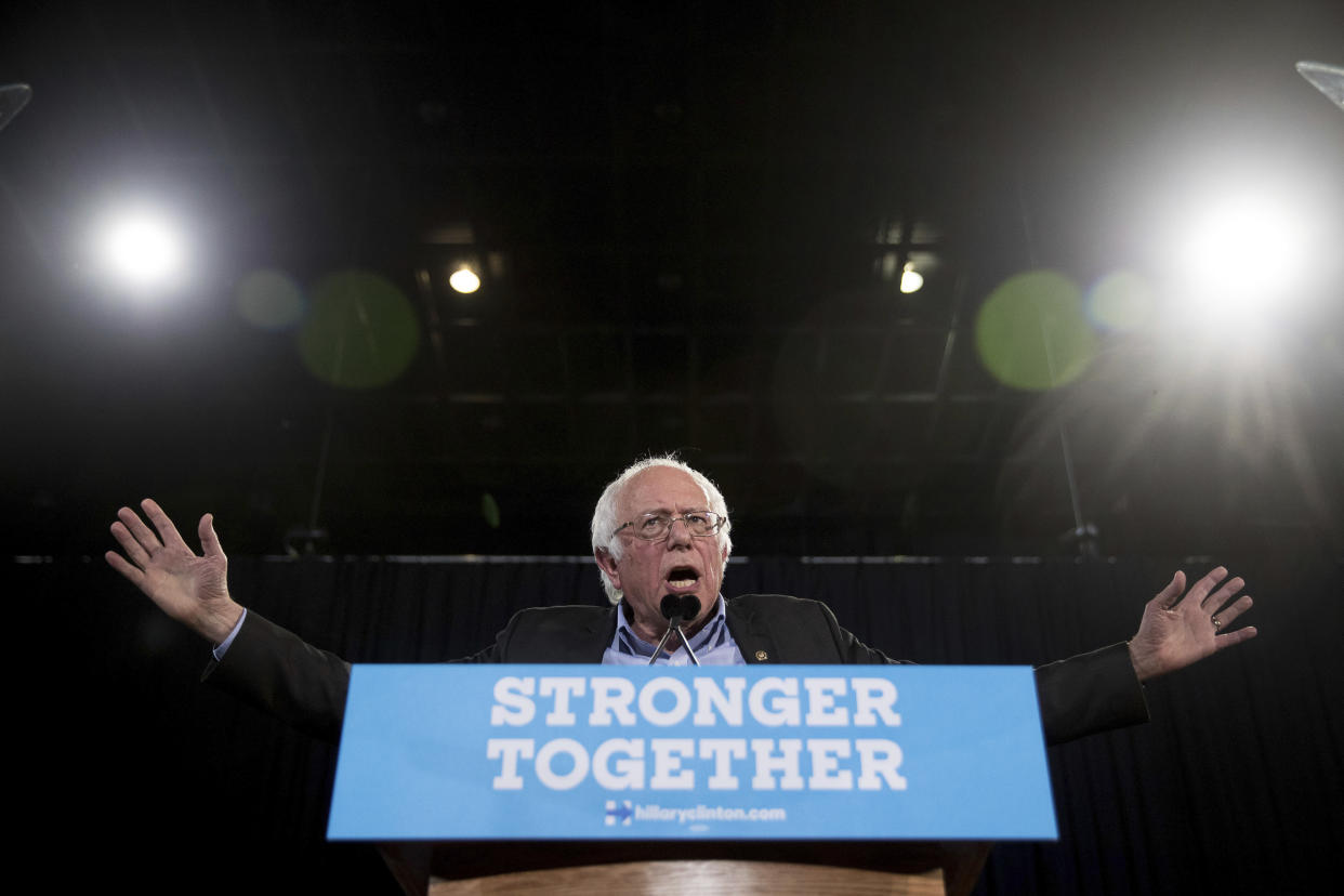 "<span class=""s1"">Bernie Sanders speaks at a rally for Hillary Clinton in Raleigh, N.C., on Nov. 3, 2016. (Photo: Andrew Harnik/AP)</span>"