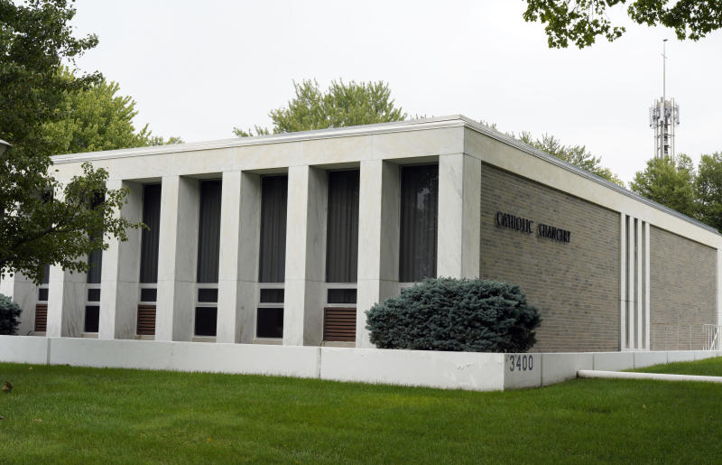 The Aug. 28, 2018 photo shows the Catholic Chancery in Lincoln, Neb. The Diocese of Lincoln, housed in this building, that refused for years to participate in annual sex abuse audits is facing a potential criminal investigation and criticism that it mishandled priests who were accused of sexual assault and morally questionable behavior. (AP Photo/Nati Harnik)
