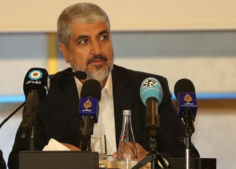 Exiled Hamas chief Khaled Meshaal unveils the Islamist movement's new policy document in the Qatari capital, Doha on May 1, 2017