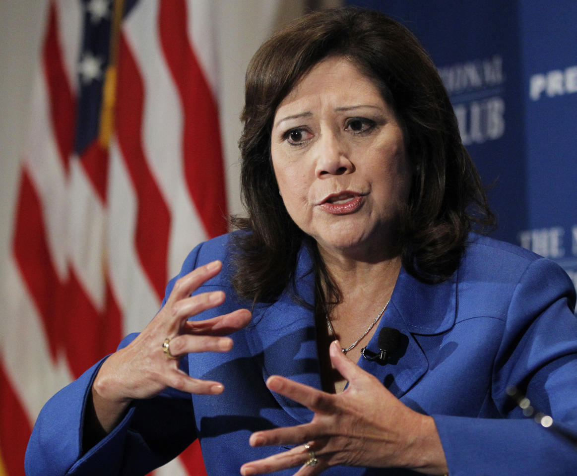 FILE - In this Aug. 30, 2011 file photo, Labor Secretary Hilda Solis speaks at the National Press Club in Washington. An aging population and an economy that has been slow to rebound are straining the long-term finances of Social Security and Medicare, the government's two largest benefit programs. Those problems are getting new attention Monday as the trustees who oversee the massive programs release their annual financial reports. (AP Photo/Manuel Balce Ceneta, File)