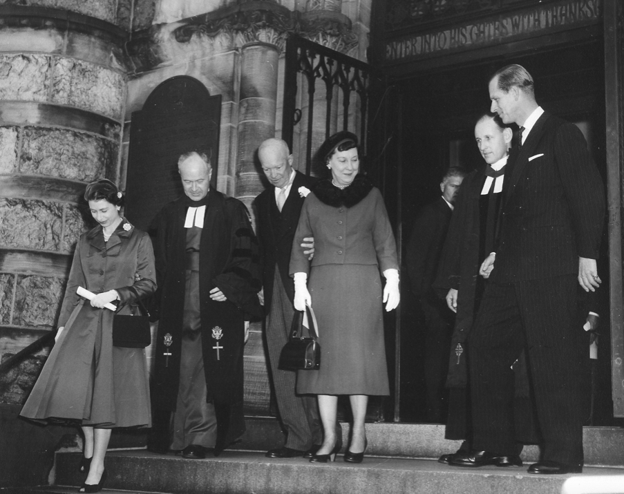 President Dwight D Eisenhower (3rd from left) meets the now Queen Elizabeth at the National Presbyterian Church in 1957.