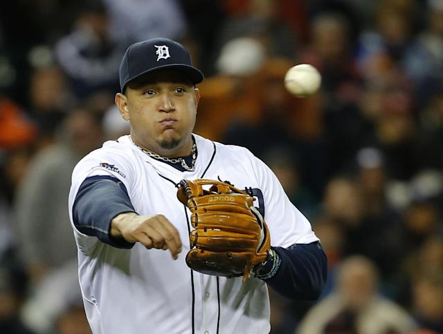 Detroit Tigers' Miguel Cabrera throws to the first in the ninth inning during Game 5 of the American League baseball championship series against the Boston Red Sox, Thursday, Oct. 17, 2013, in Detroit. (AP Photo/Paul Sancya)