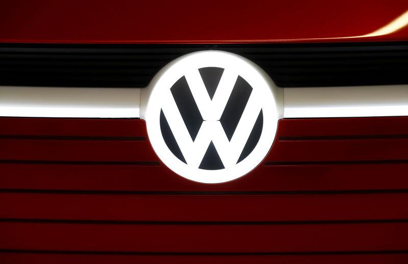 FILE PHOTO: The logo of Volkswagen in Berlin, Germany February 27, 2019. REUTERS/Fabrizio Bensch/File Photo
