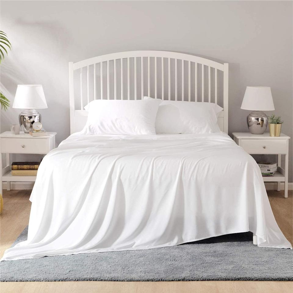 "<h2>41% Off Bedsure 100% Bamboo Sheets</h2><br>These 100% bamboo sheets are a top-rated Amazon's Choice buy boasting over 5,000 reviews that tout everything from the cooling to comfy, super-soft, and temperature-perfecting qualities. <br><br><strong>Bedsure</strong> 100% Bamboo Sheets, $, available at <a href=""https://amzn.to/3qmOgcv"" rel=""nofollow noopener"" target=""_blank"" data-ylk=""slk:Amazon"" class=""link rapid-noclick-resp"">Amazon</a>"